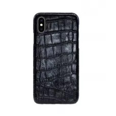 Чехол Croco Leather Case для iPhone X/XS - Черный (Black) Тиснение 2