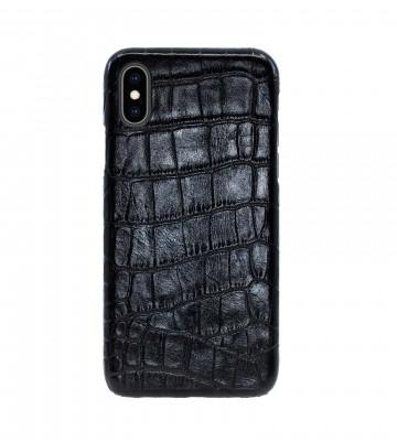 Чехол Croco Leather Case для iPhone X/XS - Черный (Black) Тиснение 2. Вид 1