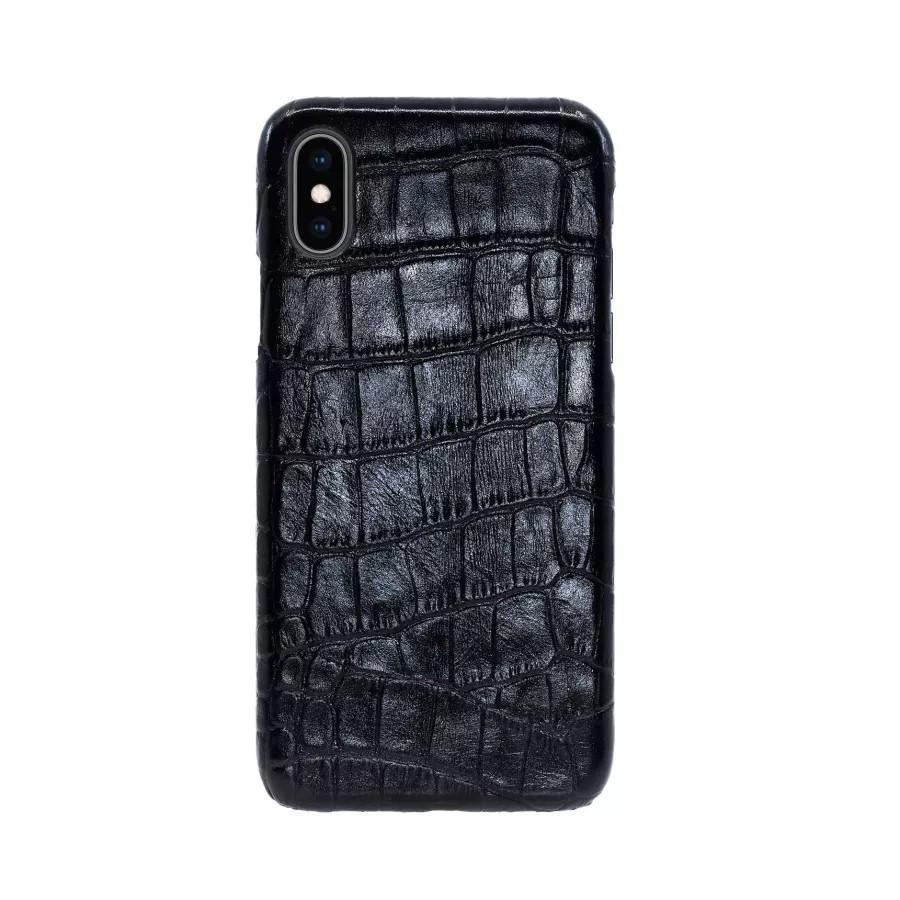 Чехол Croco Leather Case для iPhone X/XS - Черный (Black) Тиснение 2