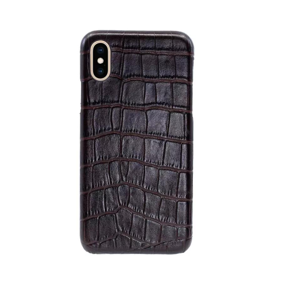 Чехол Croco Leather Case для iPhone X/XS - Темно-коричневый (Dark Brown). Вид 3