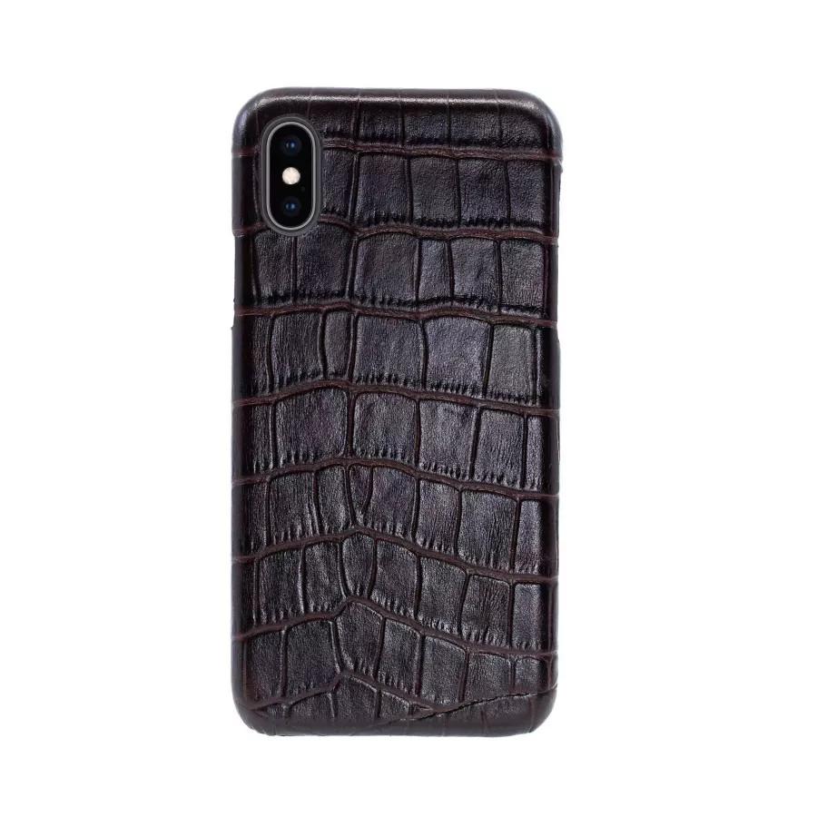 Чехол Croco Leather Case для iPhone X/XS - Темно-коричневый (Dark Brown). Вид 1