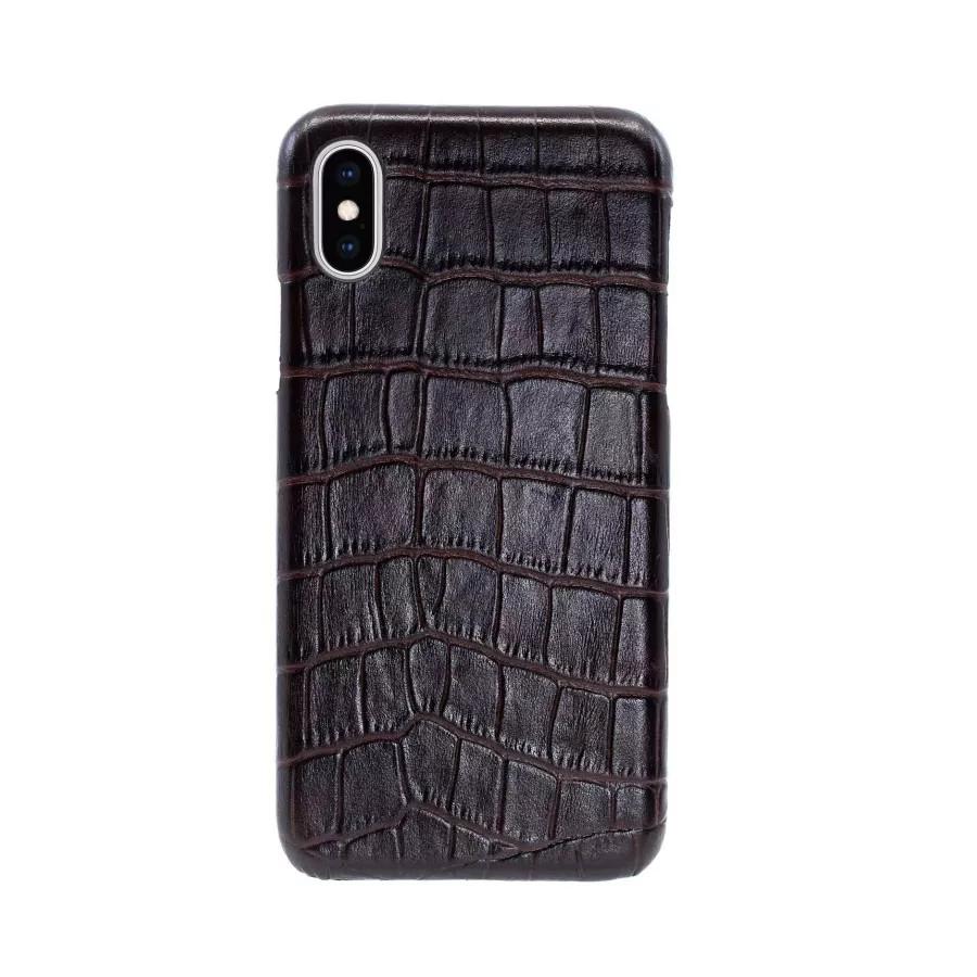 Чехол Croco Leather Case для iPhone X/XS - Темно-коричневый (Dark Brown). Вид 2
