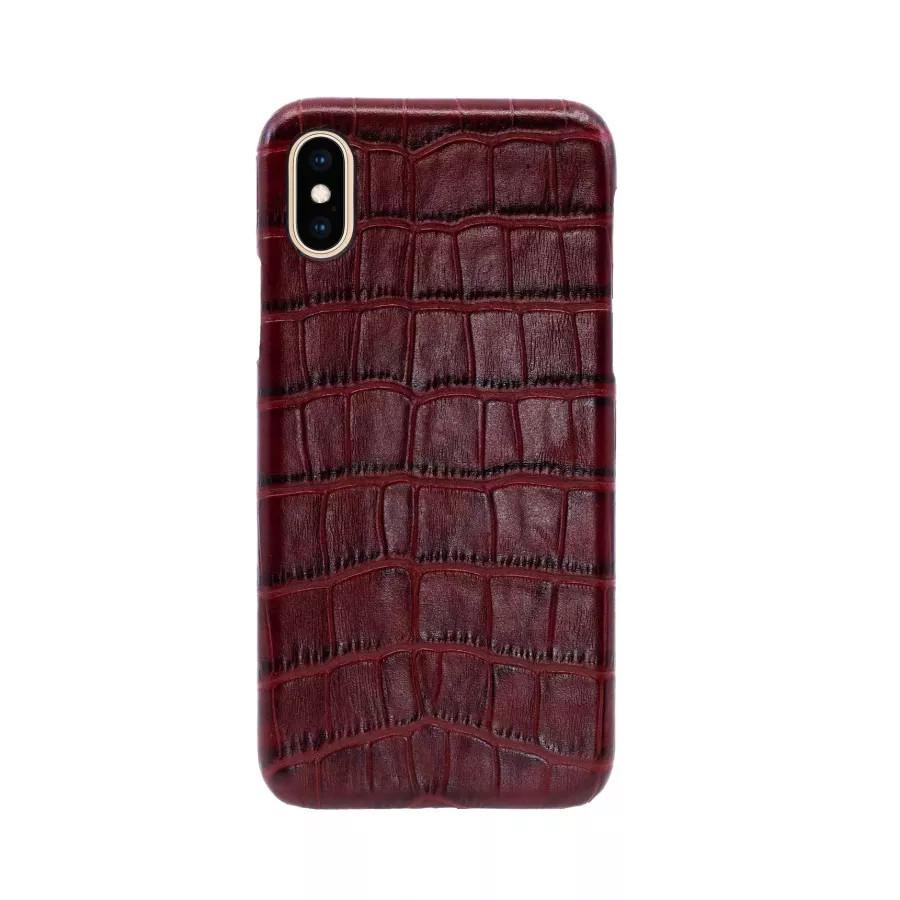 Чехол Croco Leather Case для iPhone X/XS - Бургундский (Burgundy). Вид 3
