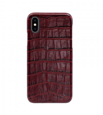 Чехол Croco Leather Case для iPhone X/XS - Бургундский (Burgundy). Вид 1