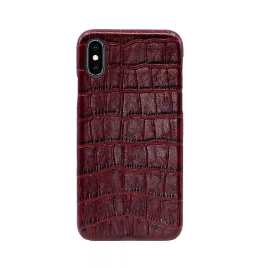 Чехол Croco Leather Case для iPhone X/XS - Бургундский (Burgundy). Вид 1