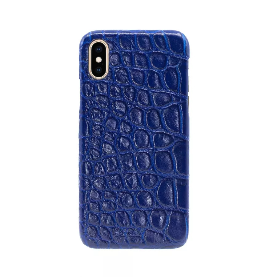 Чехол Croco Leather Case для iPhone X/XS - Индиго (Indigo). Вид 3