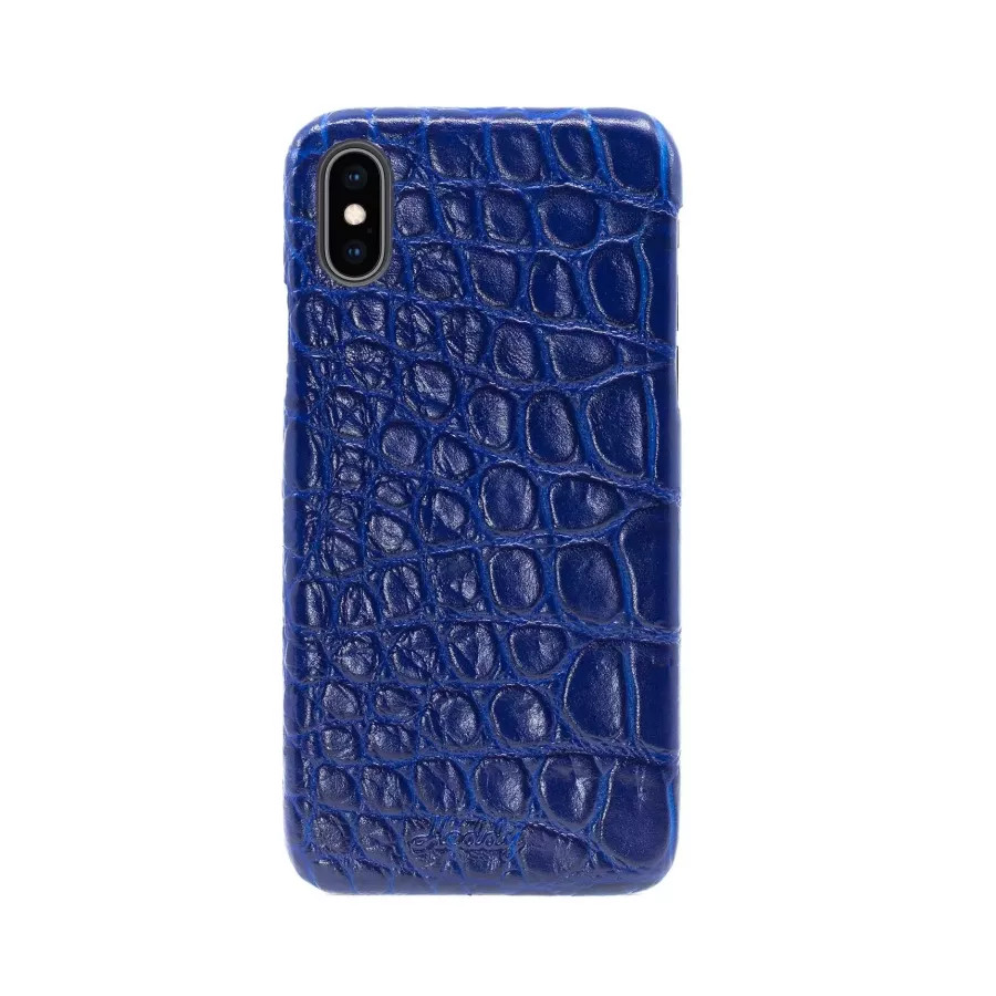 Чехол Croco Leather Case для iPhone X/XS - Индиго (Indigo). Вид 1