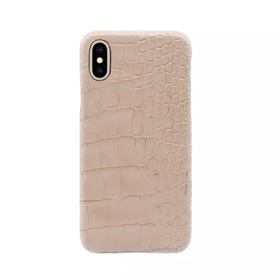 Чехол Croco Leather Case для iPhone X/XS - Розовый песок (Pink Sand). Вид 1