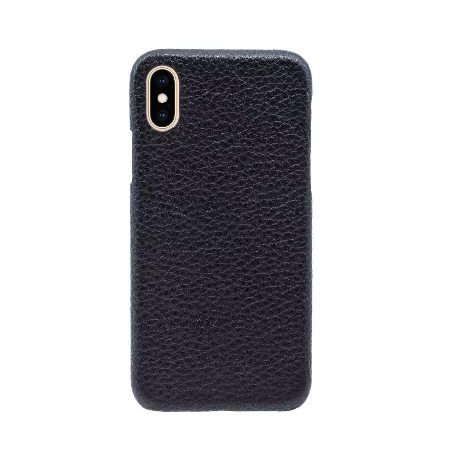 Чехол Natural Cow Hermes Leather Case для iPhone X/XS - Черный (Black). Вид 3