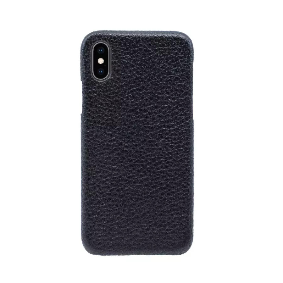 Чехол Natural Cow Hermes Leather Case для iPhone X/XS - Черный (Black). Вид 1