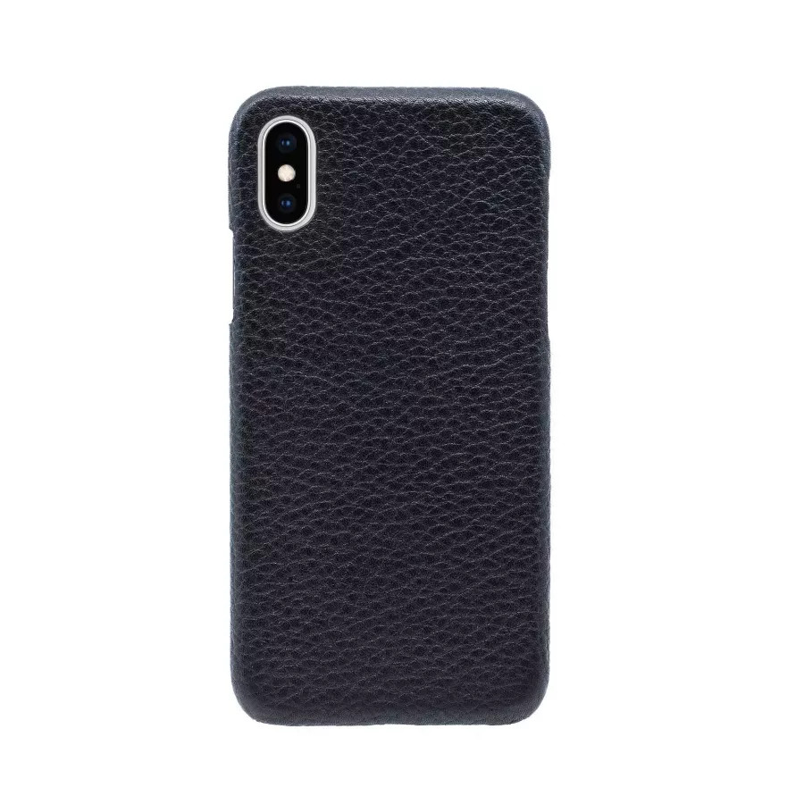 Чехол Natural Cow Hermes Leather Case для iPhone X/XS - Черный (Black). Вид 2