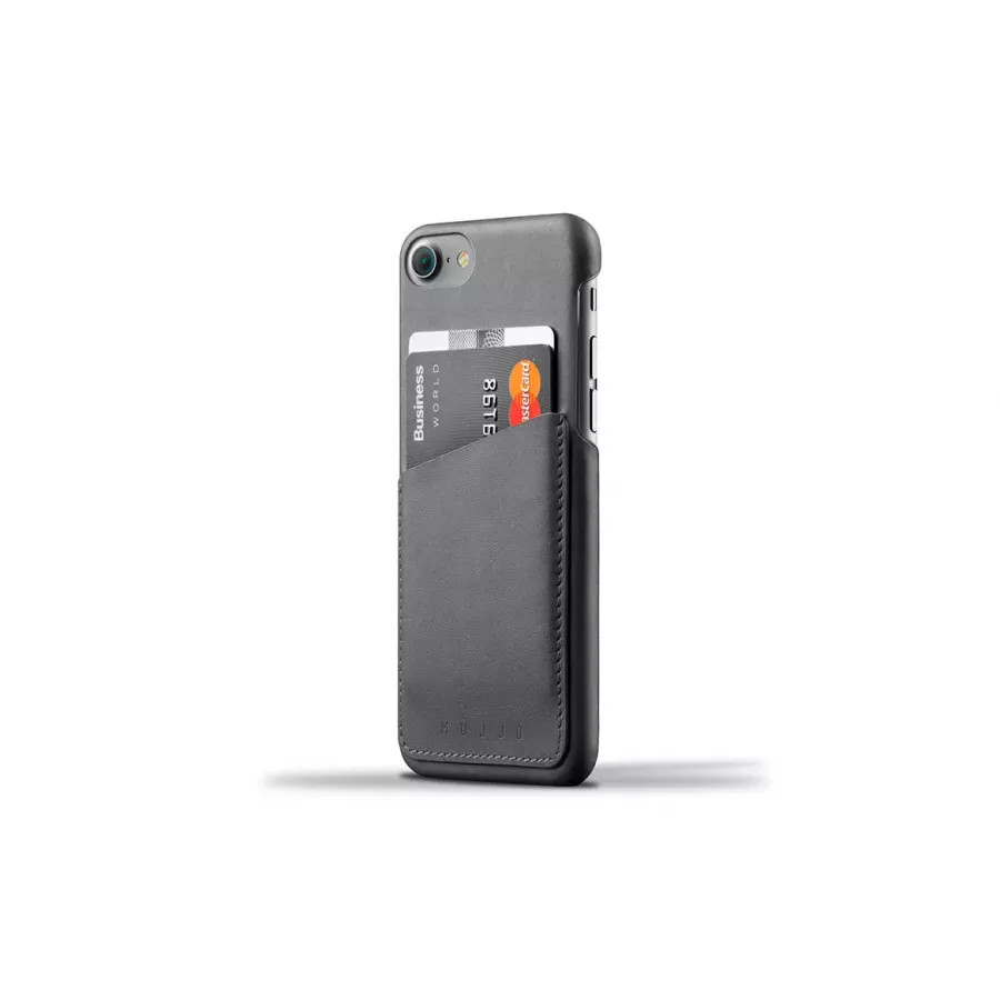 Чехол Mujjo Leather Wallet Case для iPhone 7/8/SE - Серый. Вид 1
