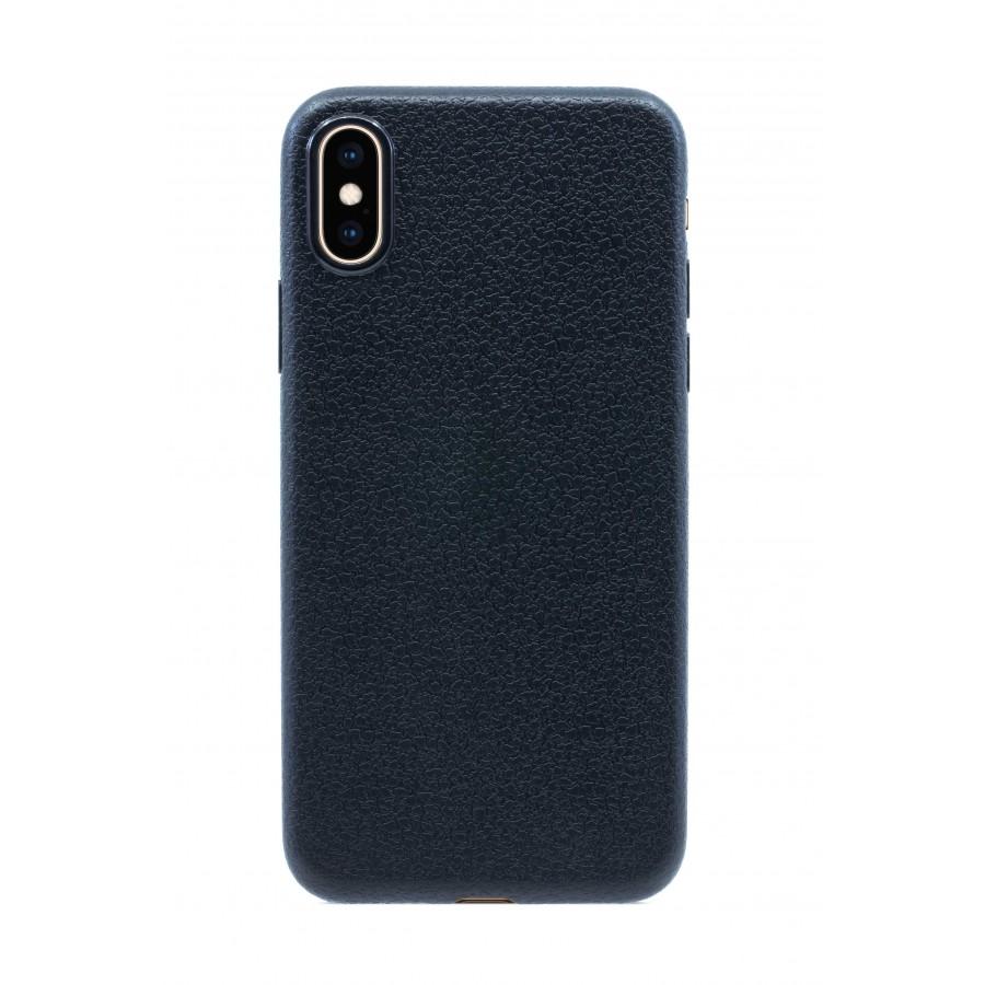 Купить Чехол прорезиненный с тиснением под кожу для iPhone X/XS - Черный в Сочи