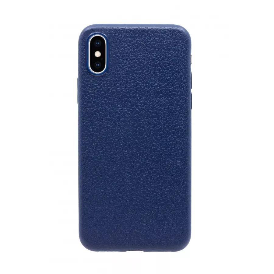 Купить Чехол прорезиненный с тиснением под кожу для iPhone X/XS - Темно-синий в Сочи