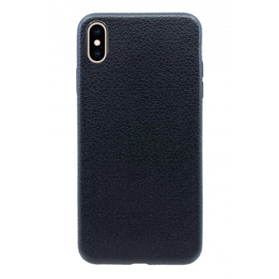Купить Чехол прорезиненный с тиснением под кожу для iPhone XS Max - Черный в Сочи