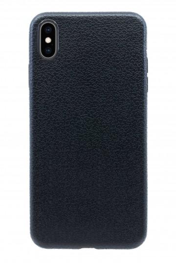 Чехол прорезиненный с тиснением под кожу для iPhone XS Max - Черный. Вид 1