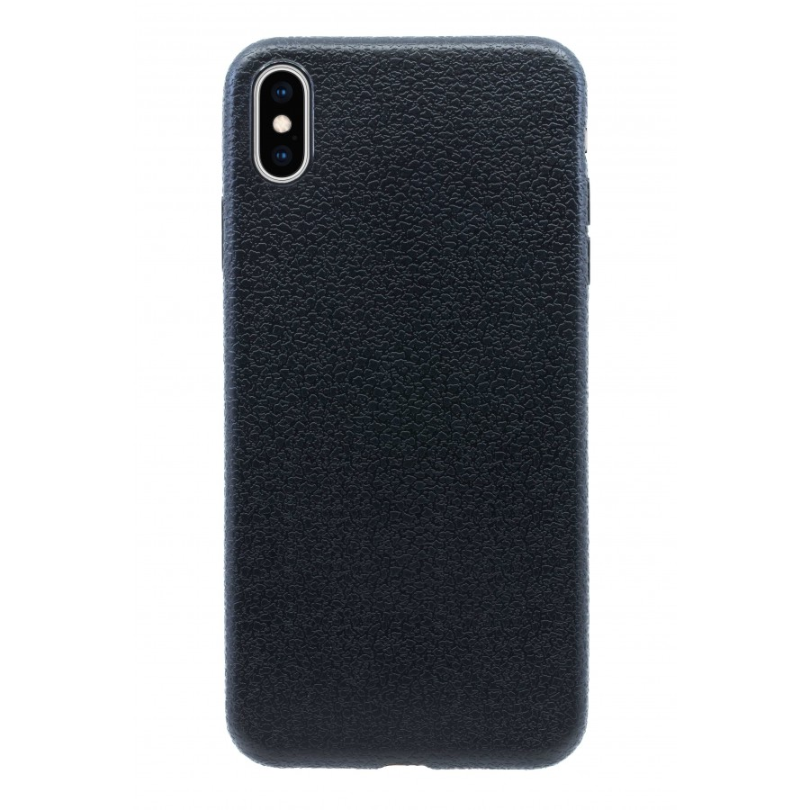 Чехол прорезиненный с тиснением под кожу для iPhone XS Max - Черный
