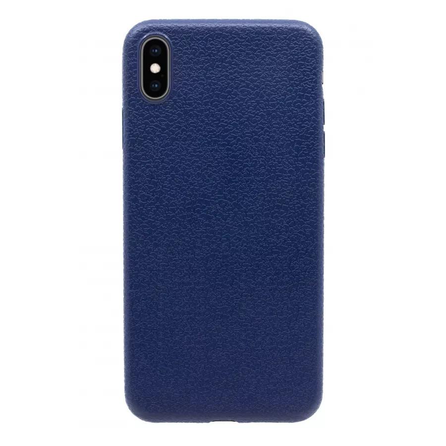 Чехол прорезиненный с тиснением под кожу для iPhone XS Max - Темно-синий