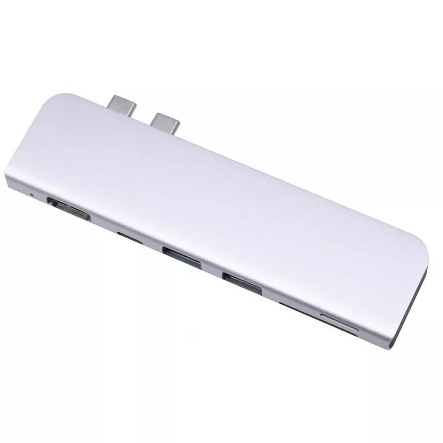 Адаптер USB-C Hub 2USB 3.0, HDMI, 1USB-C PD, SD, TF для MacBook, Серебристый. Вид 2