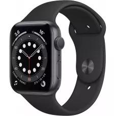 Apple Watch Series 6 44mm, алюминий цвета «серый космос», спортивный ремешок черного цвета