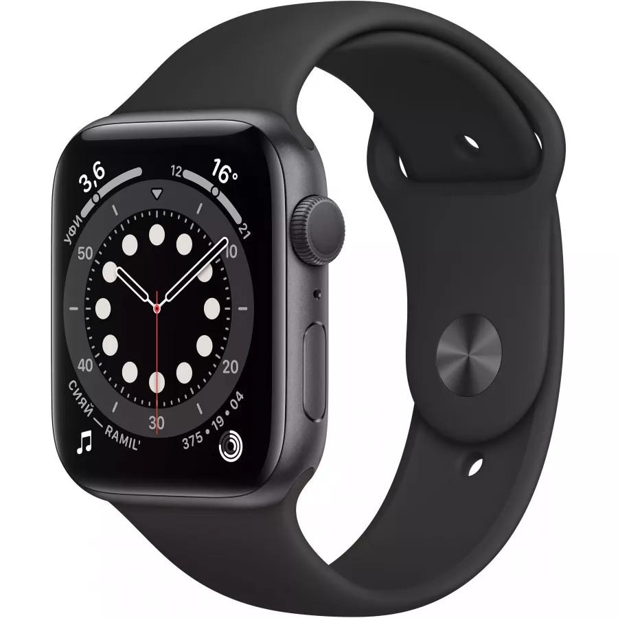 Apple Watch Series 6 44mm, алюминий цвета «серый космос», спортивный ремешок черного цвета. Вид 1