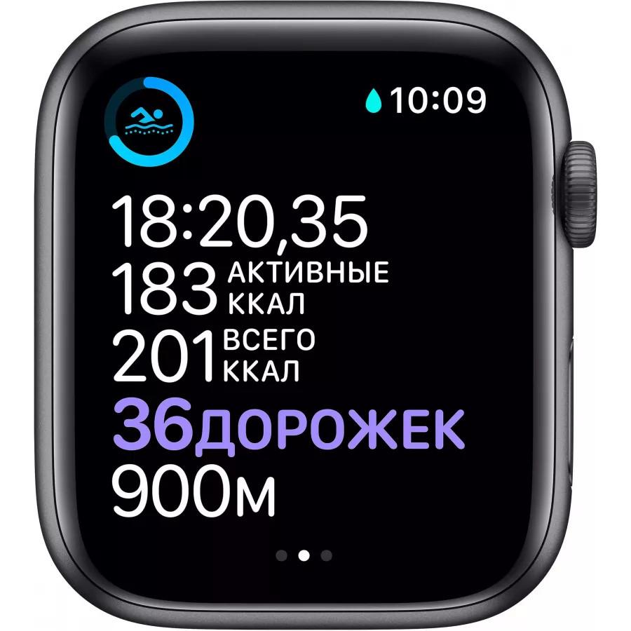 Apple Watch Series 6 44mm, алюминий цвета «серый космос», спортивный ремешок черного цвета. Вид 4