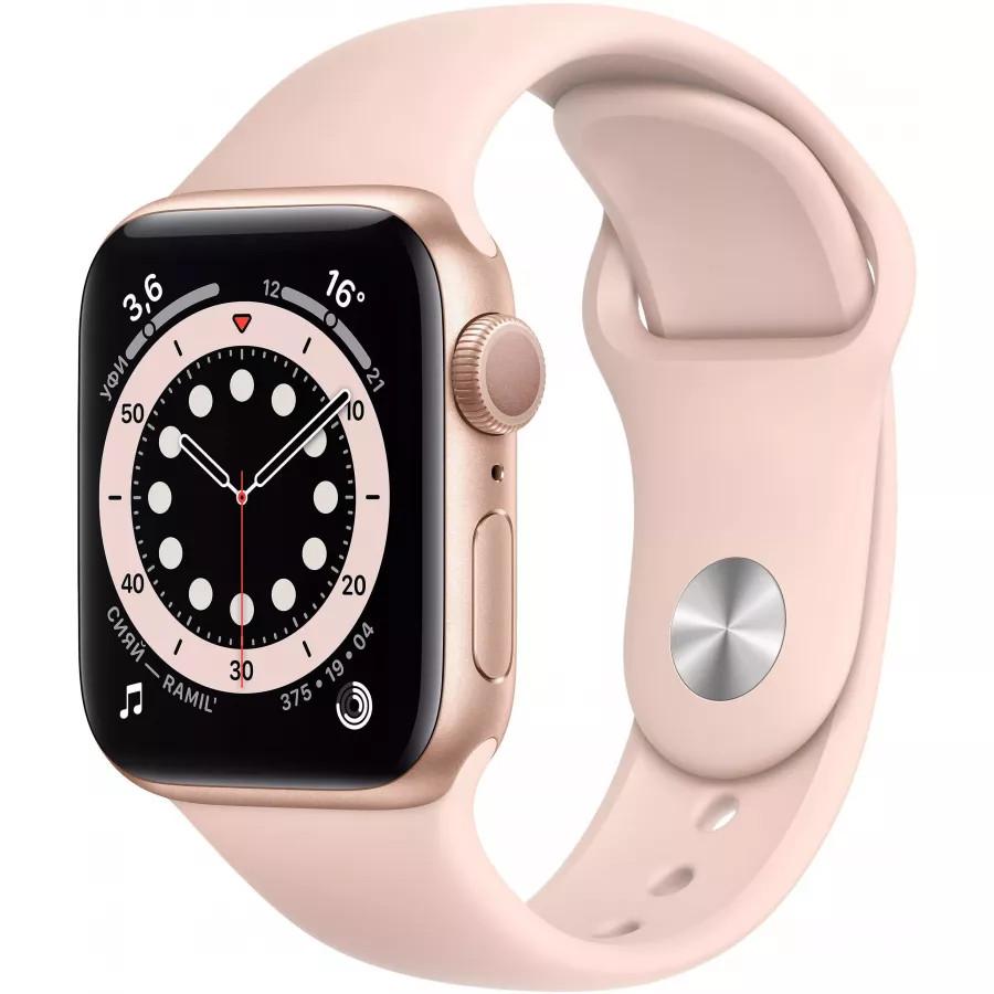Apple Watch Series 6 40mm, золотистый алюминий, спортивный ремешок цвета «розовый песок». Вид 1