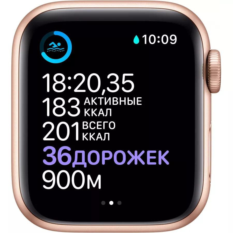 Apple Watch Series 6 40mm, золотистый алюминий, спортивный ремешок цвета «розовый песок». Вид 4