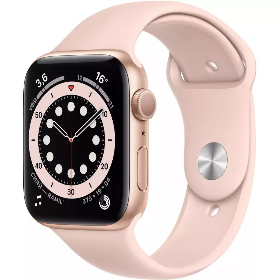 Apple Watch Series 6 44mm, золотистый алюминий, спортивный ремешок цвета «розовый песок». Вид 1