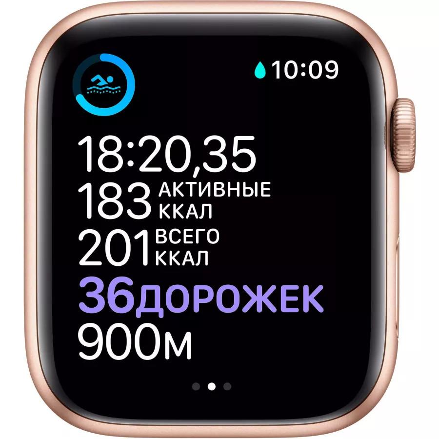 Apple Watch Series 6 44mm, золотистый алюминий, спортивный ремешок цвета «розовый песок». Вид 4