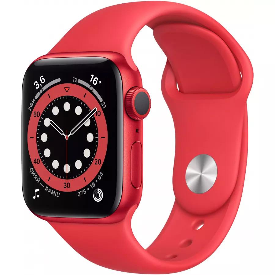 Apple Watch Series 6 40mm, алюминий цвета (PRODUCT)RED, спортивный ремешок красного цвета. Вид 1