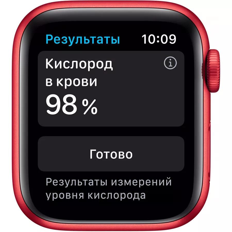 Apple Watch Series 6 40mm, алюминий цвета (PRODUCT)RED, спортивный ремешок красного цвета. Вид 3