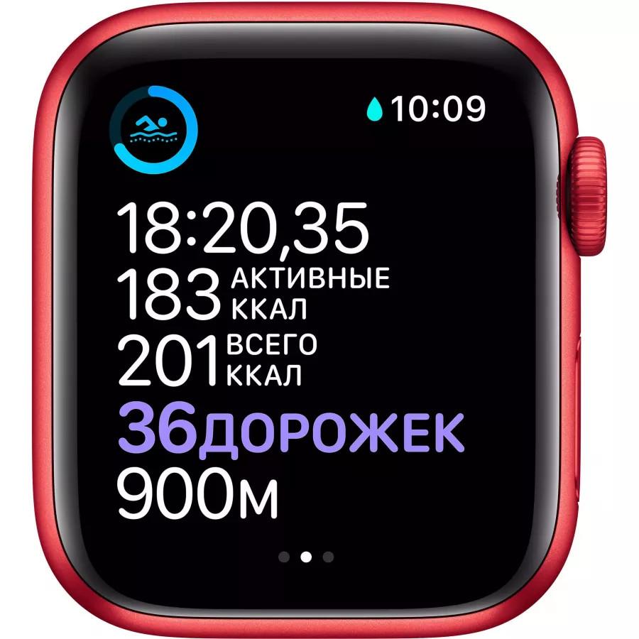 Apple Watch Series 6 40mm, алюминий цвета (PRODUCT)RED, спортивный ремешок красного цвета. Вид 4