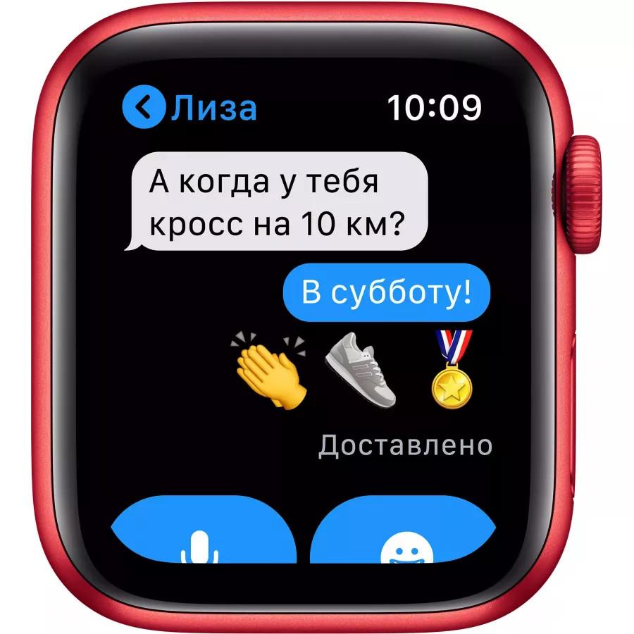 Apple Watch Series 6 40mm, алюминий цвета (PRODUCT)RED, спортивный ремешок красного цвета. Вид 5