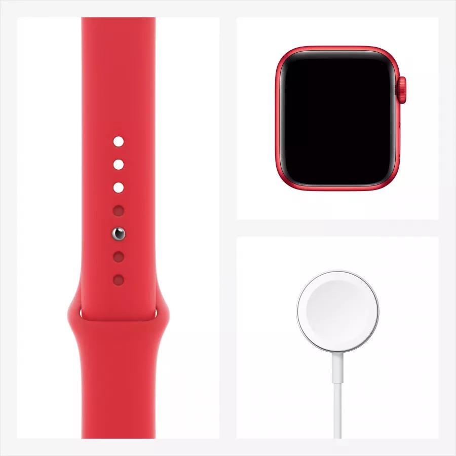 Apple Watch Series 6 40mm, алюминий цвета (PRODUCT)RED, спортивный ремешок красного цвета. Вид 7
