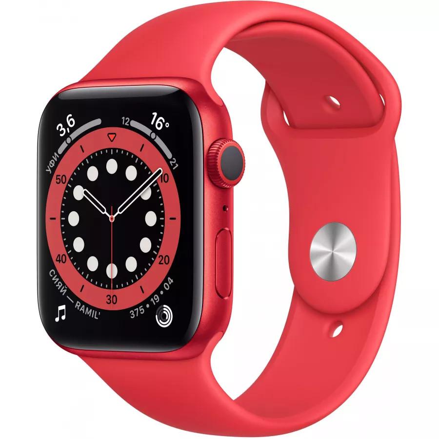 Apple Watch Series 6 44mm, алюминий цвета (PRODUCT)RED, спортивный ремешок красного цвета. Вид 1