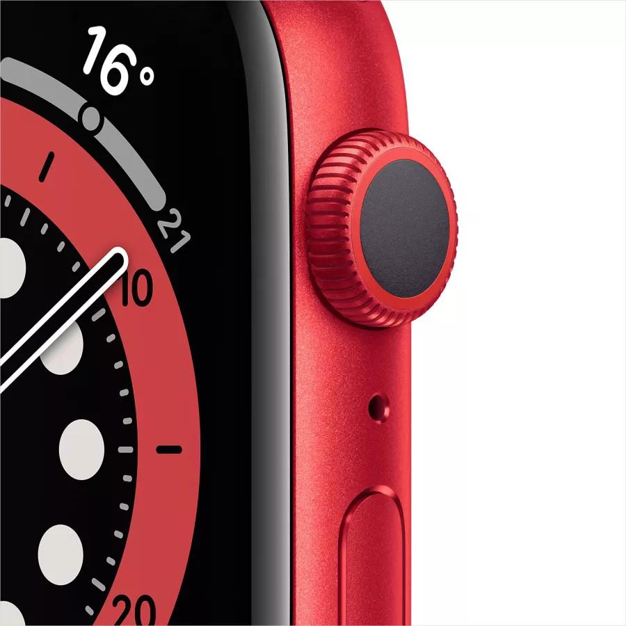 Apple Watch Series 6 44mm, алюминий цвета (PRODUCT)RED, спортивный ремешок красного цвета. Вид 2