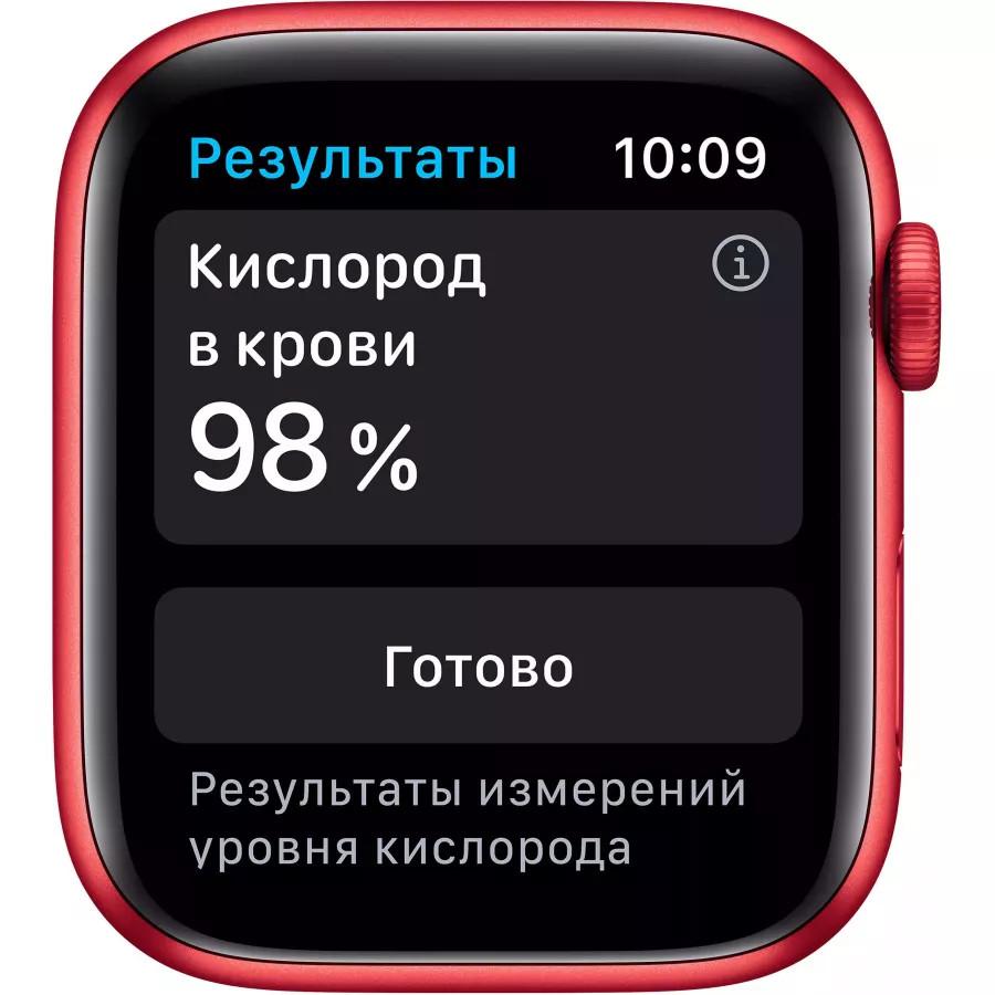Apple Watch Series 6 44mm, алюминий цвета (PRODUCT)RED, спортивный ремешок красного цвета. Вид 3