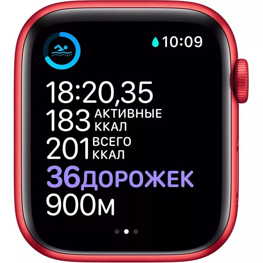 Apple Watch Series 6 44mm, алюминий цвета (PRODUCT)RED, спортивный ремешок красного цвета. Вид 4