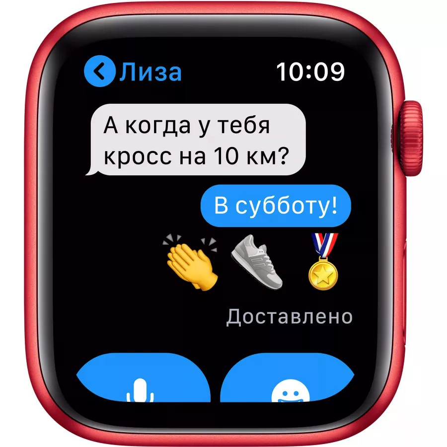 Apple Watch Series 6 44mm, алюминий цвета (PRODUCT)RED, спортивный ремешок красного цвета. Вид 5