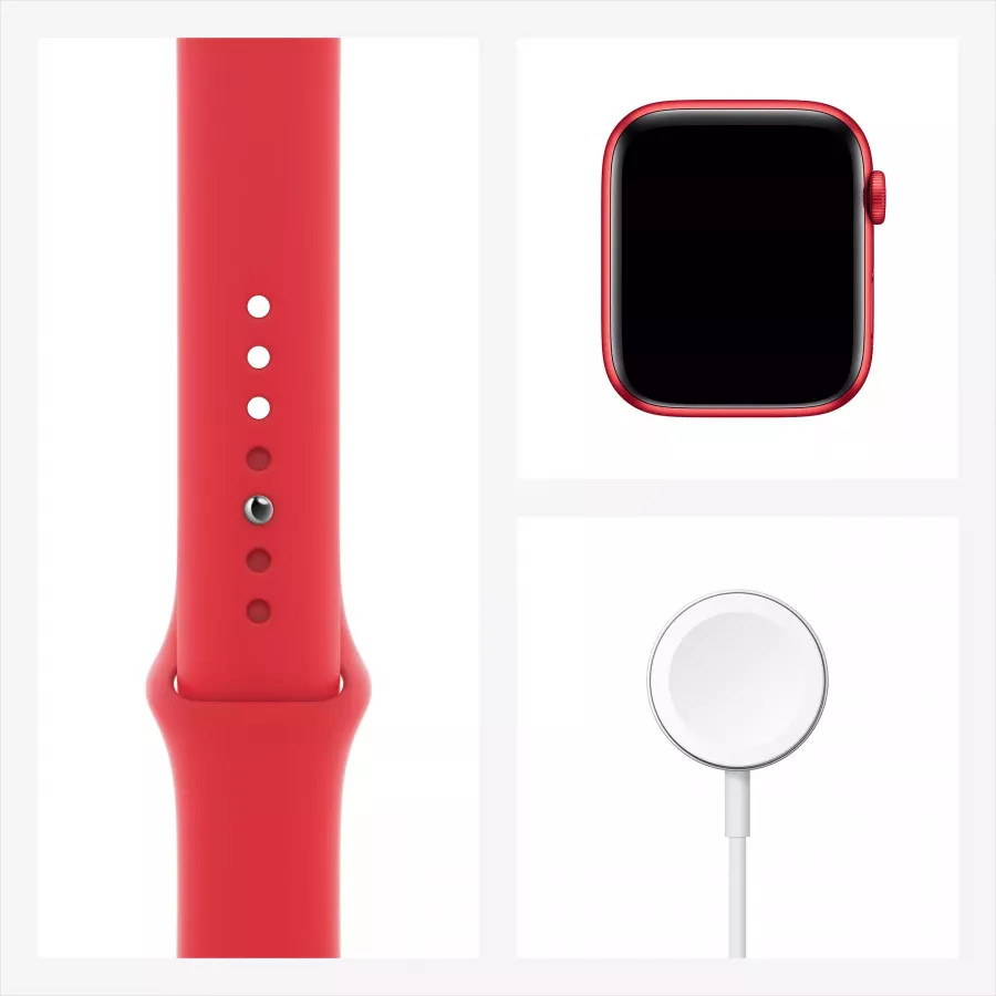 Apple Watch Series 6 44mm, алюминий цвета (PRODUCT)RED, спортивный ремешок красного цвета. Вид 7
