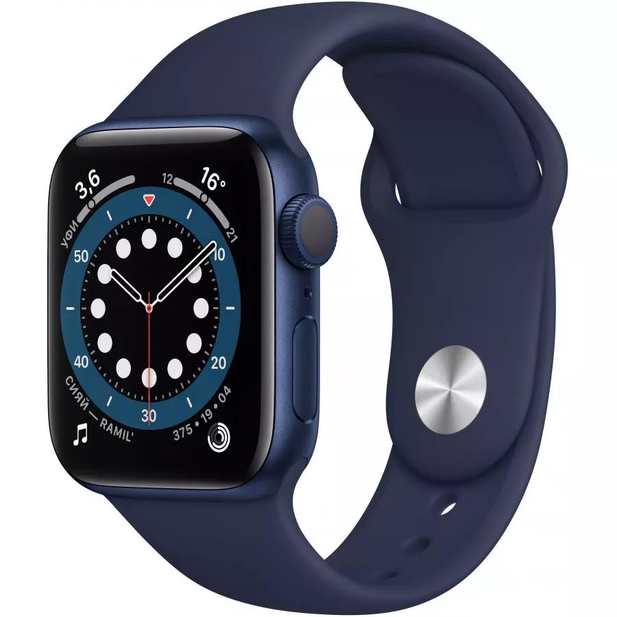 Apple Watch Series 6 40mm, алюминий синего цвета, спортивный ремешок темно-синего цвета. Вид 1
