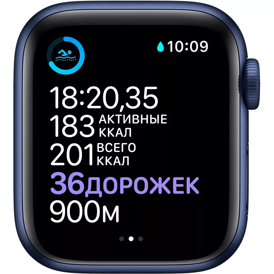 Apple Watch Series 6 40mm, алюминий синего цвета, спортивный ремешок темно-синего цвета. Вид 4