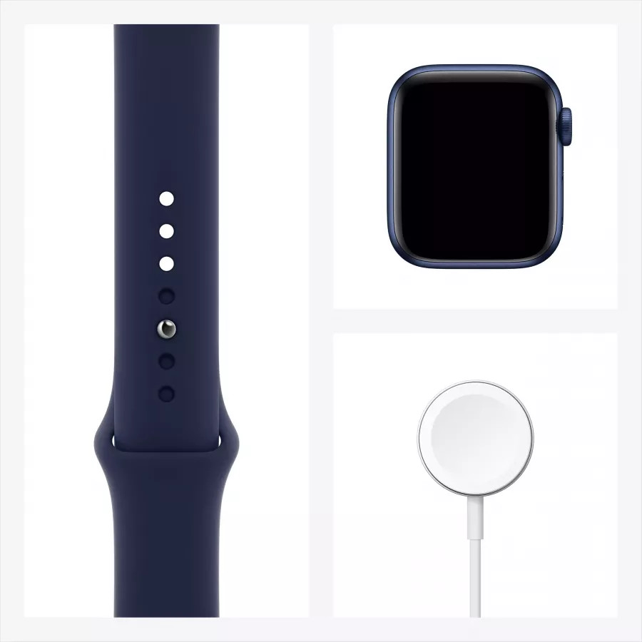 Apple Watch Series 6 40mm, алюминий синего цвета, спортивный ремешок темно-синего цвета. Вид 7
