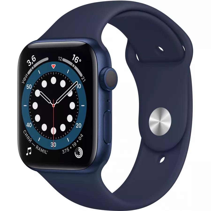 Apple Watch Series 6 44mm, алюминий синего цвета, спортивный ремешок темно-синего цвета. Вид 1