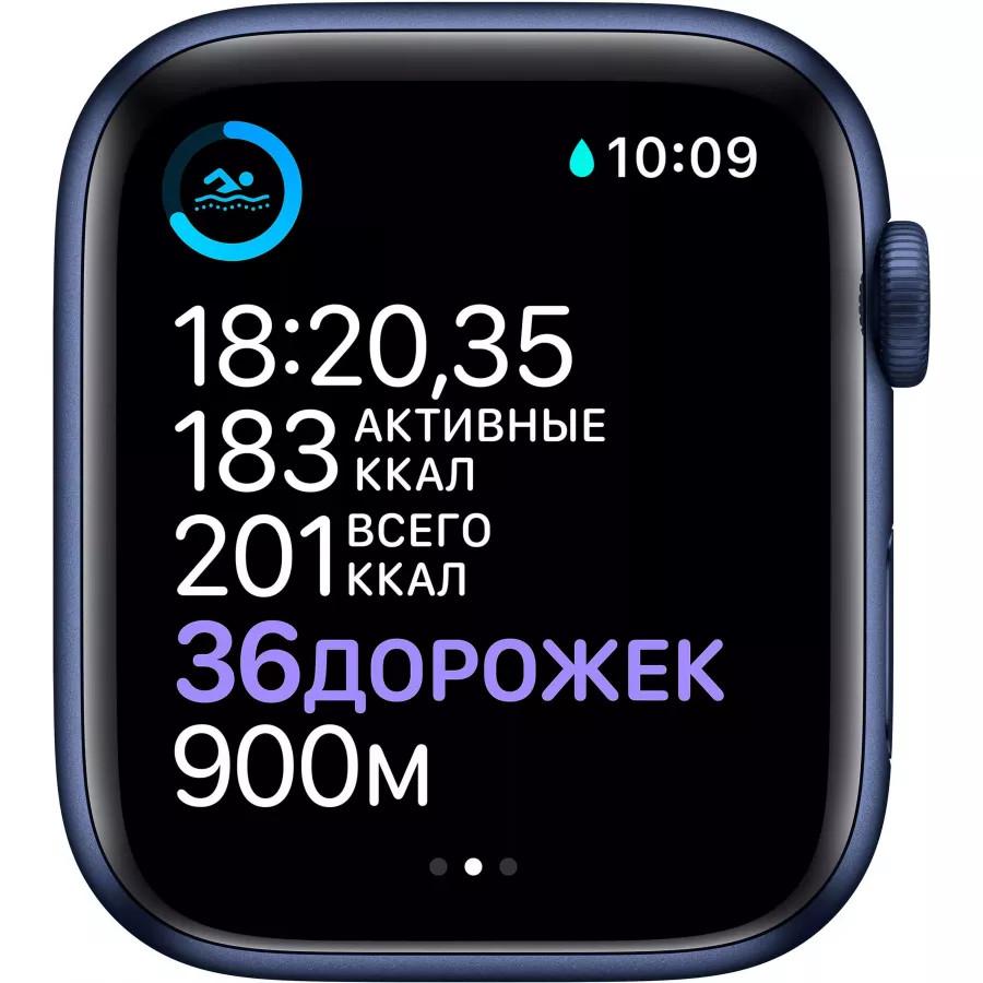 Apple Watch Series 6 44mm, алюминий синего цвета, спортивный ремешок темно-синего цвета. Вид 4
