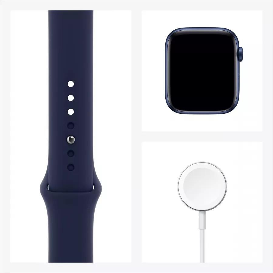 Apple Watch Series 6 44mm, алюминий синего цвета, спортивный ремешок темно-синего цвета. Вид 7