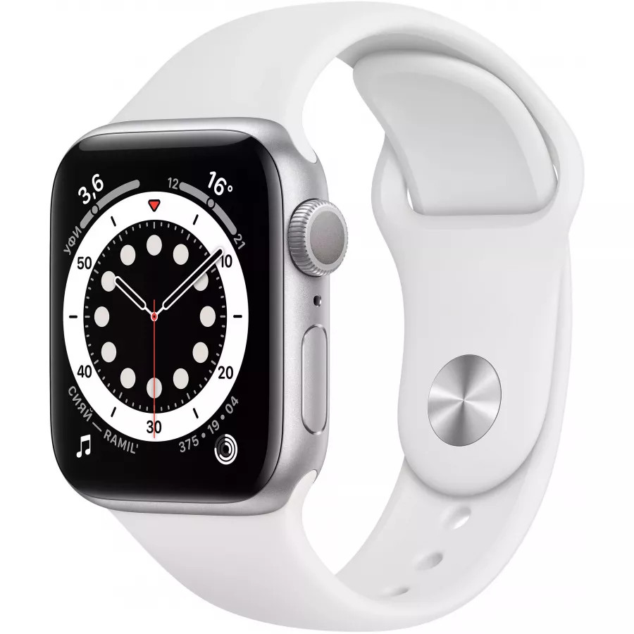 Apple Watch Series 6 40mm, серебристый алюминий, спортивный ремешок белого цвета. Вид 1