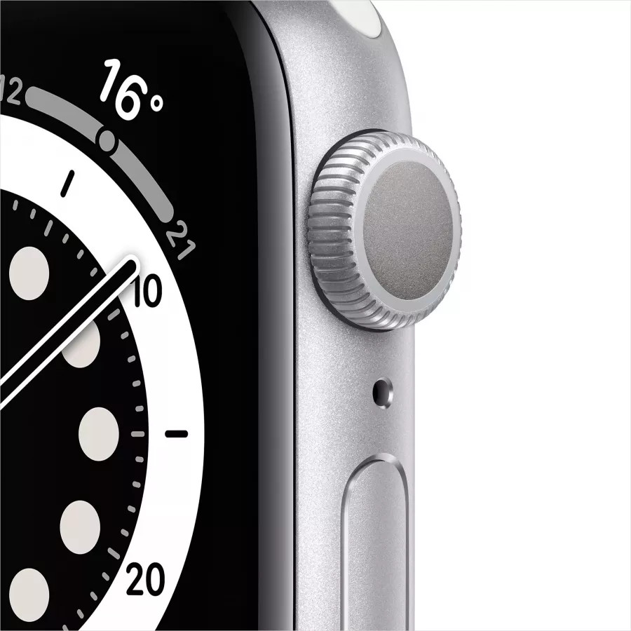 Apple Watch Series 6 40mm, серебристый алюминий, спортивный ремешок белого цвета. Вид 2