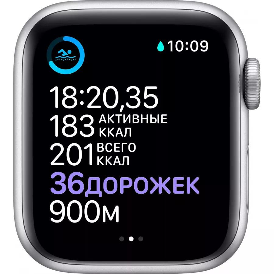 Apple Watch Series 6 40mm, серебристый алюминий, спортивный ремешок белого цвета. Вид 4